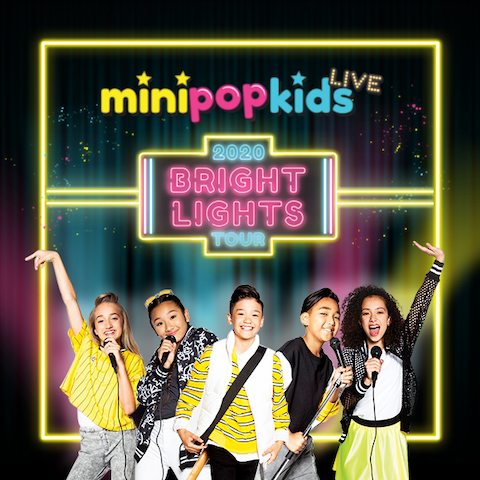 minipopkids infront of a neon Bright Lights sign