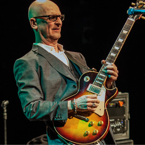 Kim Mitchell playing guitar.