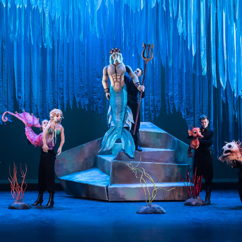 Little mermaid, King Triton and Sea Witch on stage.