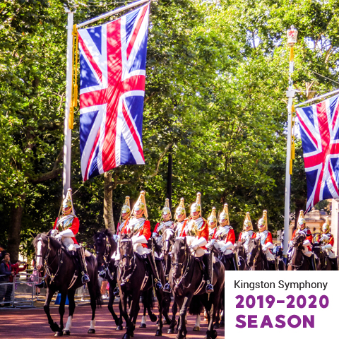 Horses and soldiers marching with British flags flying
