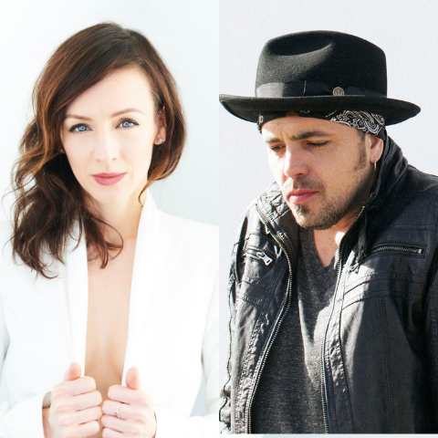 Sarah Slean and Hawksley Workman posing.