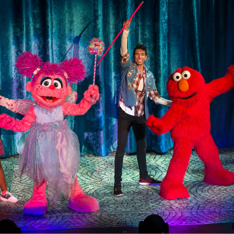 Sesame street characters dancing on stage.