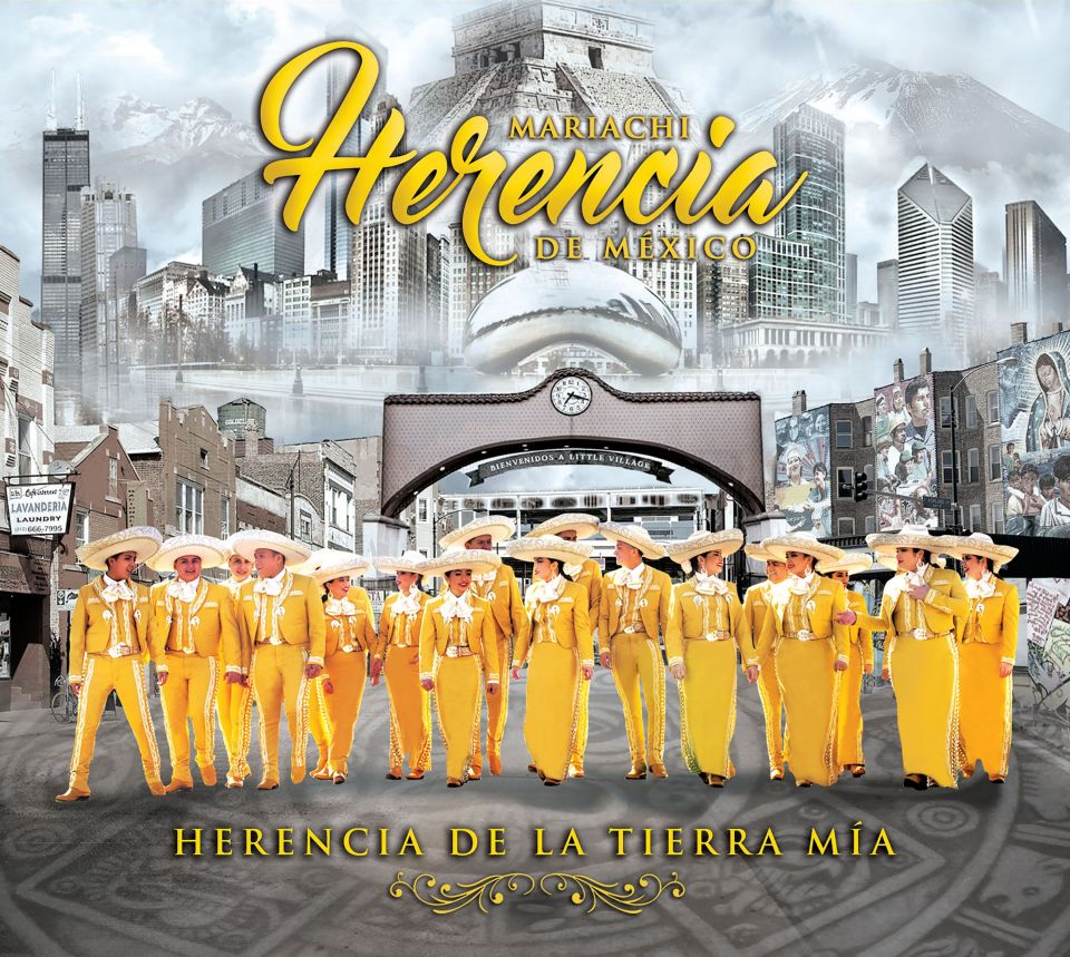 Large group of mariachi band members standing in front of a Chicago backdrop.
