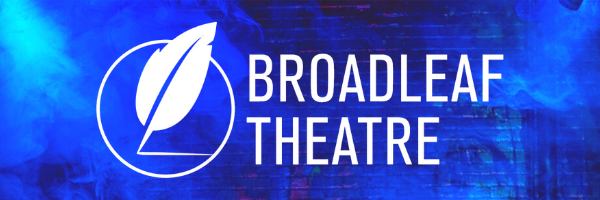 Blue background with the Broadleaf Theatre logo in white over it