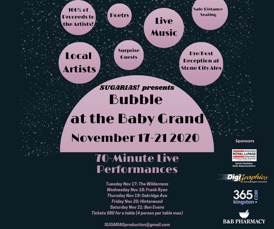 Graphic listing all performances happening as part of Bubble at the Baby Grand