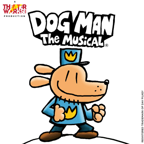 Cartoon drawing of dog in police outfit.
