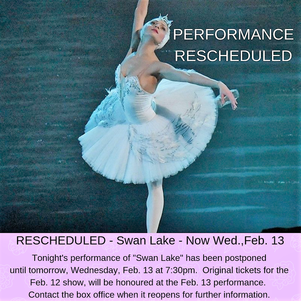 Performance postponed to Wed Feb. 13 at 7:30pm