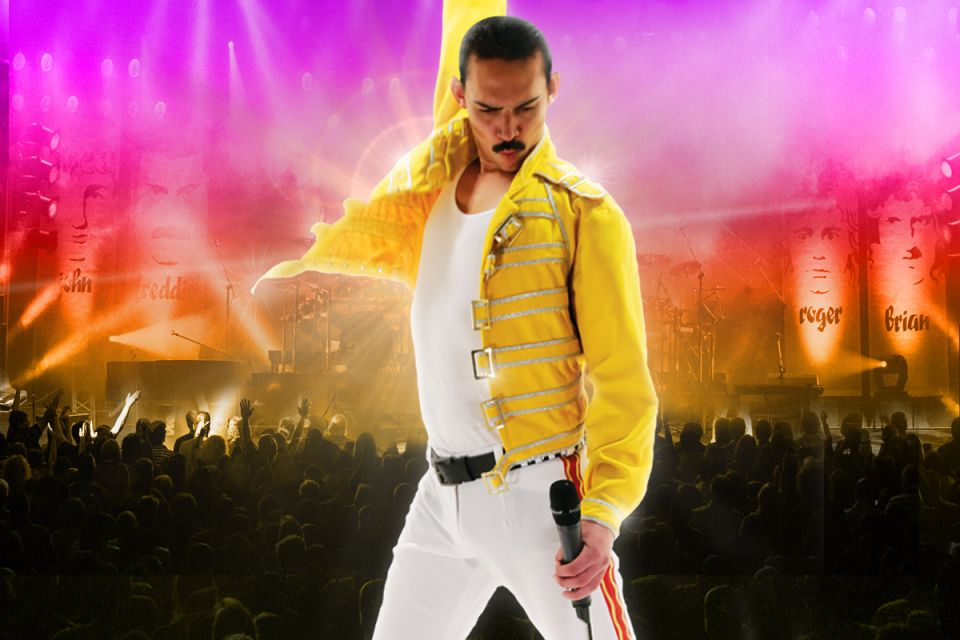 Freddy Mercury with arm raised on poster front