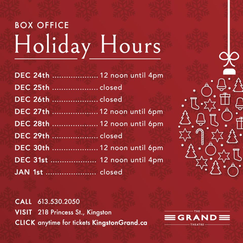 Holiday Box Office Hours